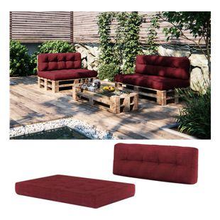Vicco Palettenkissen-Set Sitzkissen Rückenkissen 15 cm hoch Palettenmöbel rot