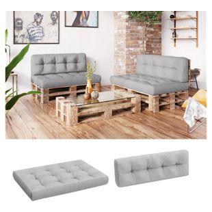 Vicco Palettenkissen-Set Sitzkissen Rückenkissen 15cm hoch Palettenmöbel Flocke grau