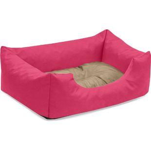 BedDog Hundebett MIMI, Hundesofa aus Cordura, Microfaser-Velours,Hundekissen... S (ca. 55x40cm), CANDY (pink/beige)