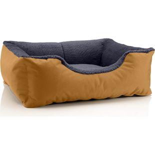 BedDog Hundebett TEDDY, Hundesofa, waschbares Hundebett mit Rand, Hundekissen... S (ca. 55x40cm), GOLDEN-ROCK (gold/grau)