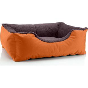 BedDog Hundebett TEDDY, Hundesofa, waschbares Hundebett mit Rand, Hundekissen... S (ca. 55x40cm), RUSSET-BROWN (orange/braun)