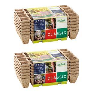 Dominik Gartenparadies Doppelpack 144 Anzuchttöpfe, 12 Strips à 12 Töpfe, 100% torffrei