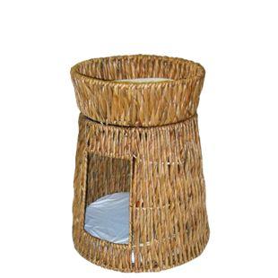 Katzenturm aus gedrehter Wasserhyazinthe - Bild 1