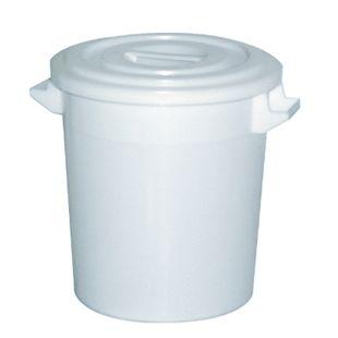 BRB Kunststofftonne 50 Liter mit Deckel, weiß - Bild 1