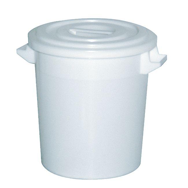 BRB Kunststofftonne 100 Liter mit Deckel, weiß - Bild 1