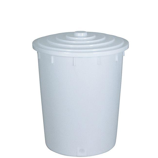 BRB Kunststofftonne 150 Liter mit Deckel, weiß - Bild 1