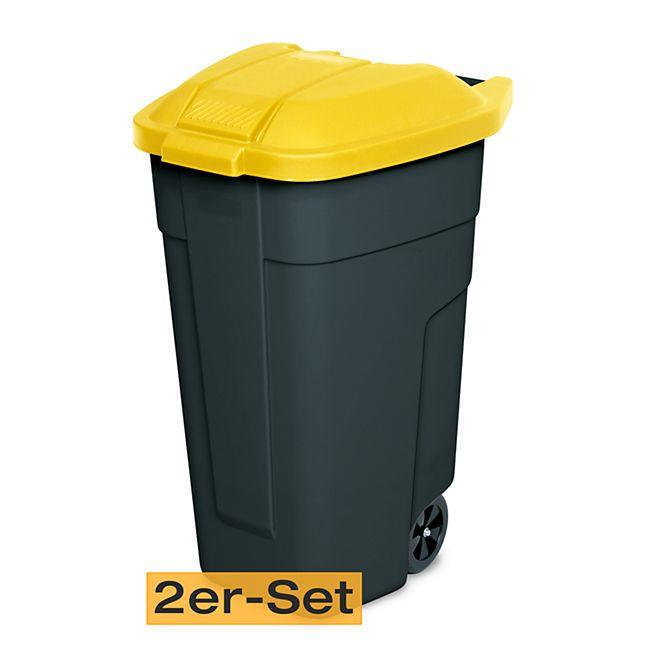 BRB Mülltonne 100 Liter VE: 2 Stück, anthrazit/gelb - Bild 1
