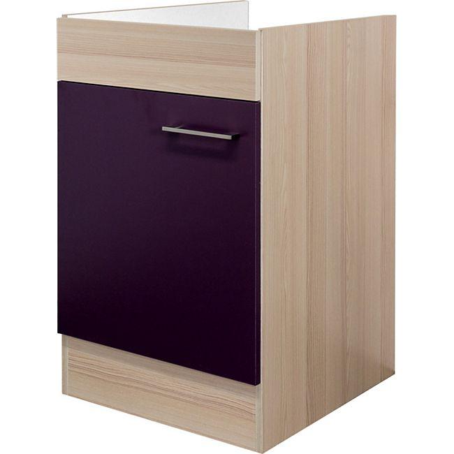 Flex-Well Küchen Spülenunterschrank Focus/Aubergine - 50 cm - Bild 1