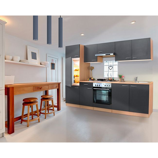 Respekta Küchenzeile KB270BGE 270 cm Grau-Buche Nachbildung - Bild 1