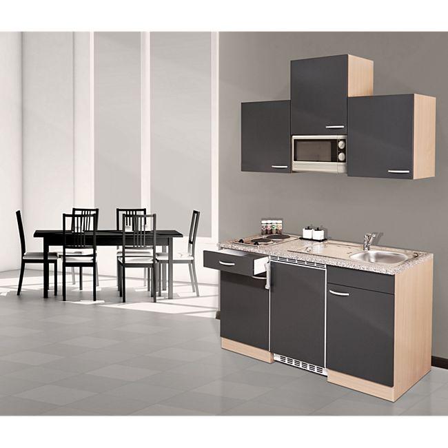 Respekta Küchenzeile KB150BGMI 150 cm Grau-Buche Nachbildung - Bild 1