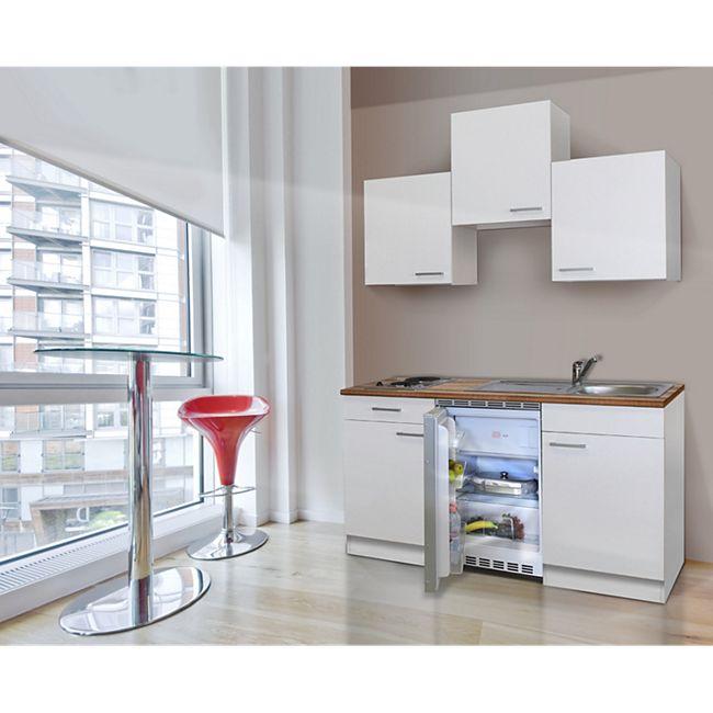 Respekta Küchenzeile KB150WW 150 cm Weiß - Bild 1