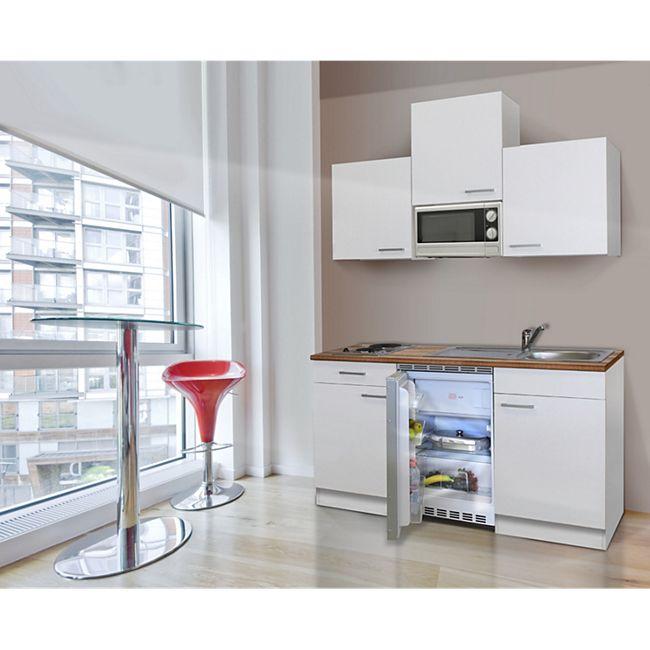 Respekta Küchenzeile KB150WWMI 150 cm Weiß - Bild 1