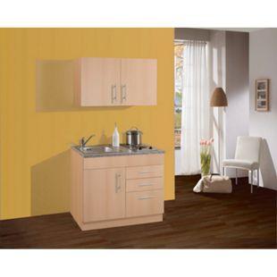 HELD Möbel Single-Küche Dallas 100 cm - Melamin Buche Nachbildung - Bild 1