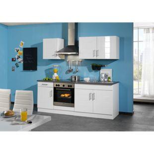 HELD Möbel Küchenzeile Nevada 210 cm Hochglanz weiß - ohne E-Geräte - Bild 1