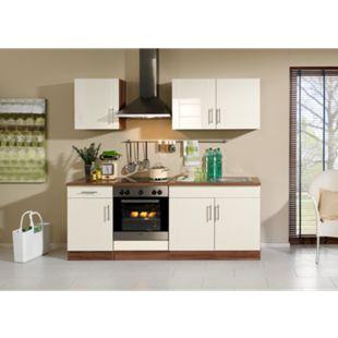 HELD Möbel Küchenzeile Nevada 210 cm Hochglanz creme - ohne E-Geräte - Bild 1
