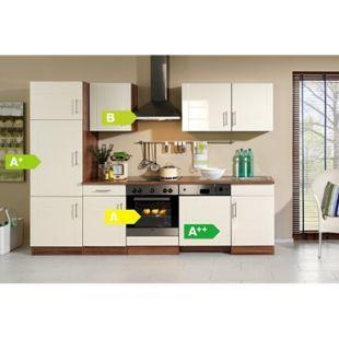 HELD Möbel Küchenzeile Nevada 280 cm Hochglanz creme - inkl. E-Geräte - Bild 1
