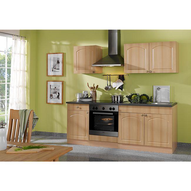 HELD Möbel Küchenzeile Rom 210 cm Buche Nachbildung - ohne E-Geräte - Bild 1