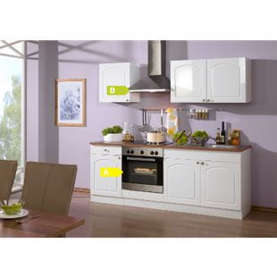 HELD Möbel Küchenzeile Rom 210 cm Hochglanz weiß - inkl. E-Geräte - Bild 1