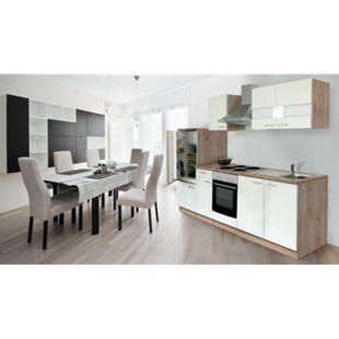 Respekta Küchenzeile KB270ESW 270 cm Weiß-Eiche Sägerau Nachbildung - Bild 1
