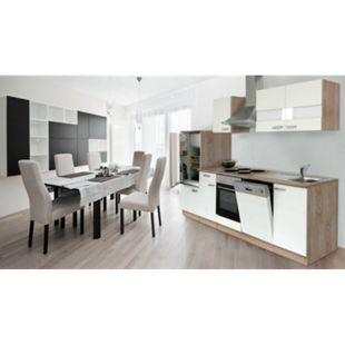 Respekta Küchenzeile KB280ESW 280 cm Weiß-Eiche Sägerau Nachbildung - Bild 1