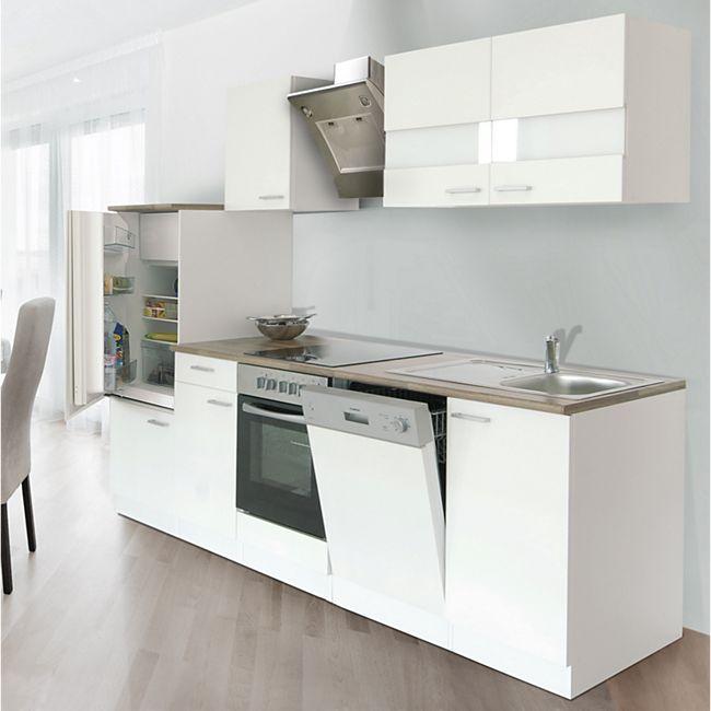 Respekta Küchenzeile LBKB280WW 280 cm ohne Geräte Weiß - Bild 1
