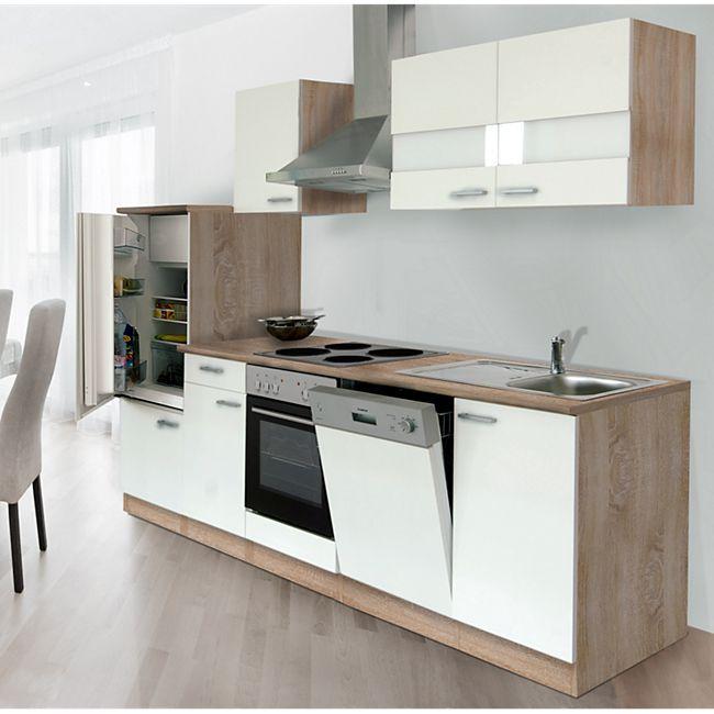 Respekta Küchenzeile LBKB280ESW 280 cm ohne Geräte Weiß-Eiche Sonoma Sägerau Nachbildung - Bild 1