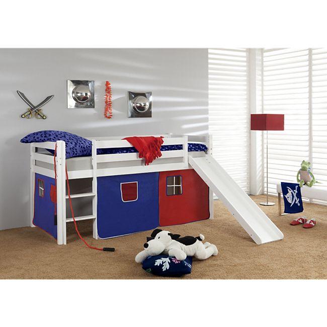 elfo hochbett tom in kiefer massiv blau rot online kaufen netto. Black Bedroom Furniture Sets. Home Design Ideas