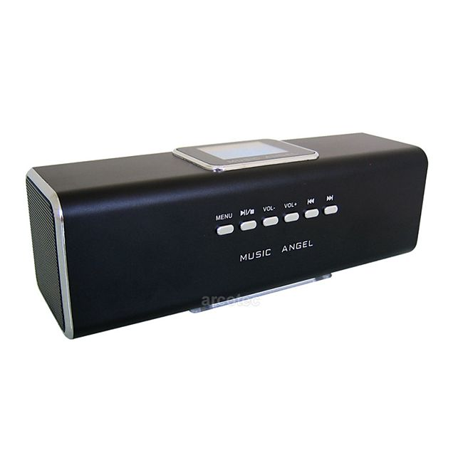 MUSIC ANGEL Portable Stereo Mini Lautsprecher mit Radio, Akku, USB, microSD - schwarz - Bild 1