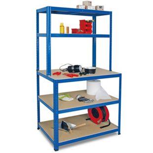 BRB 74221 Arbeits- und Packtisch, blau - 90 x 180 x 40/60 cm - Bild 1