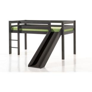 Vipack Spielbett Pino mit Rutsche, Kiefer massiv taupe (ein warmes dunkel grau) lackiert - Bild 1