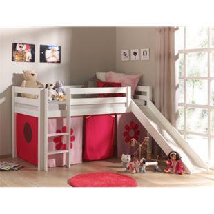 """Vipack Spielbett Pino mit Rutsche und Textilset """"Pink Flower"""", Kiefer massiv weiß lackiert - Bild 1"""