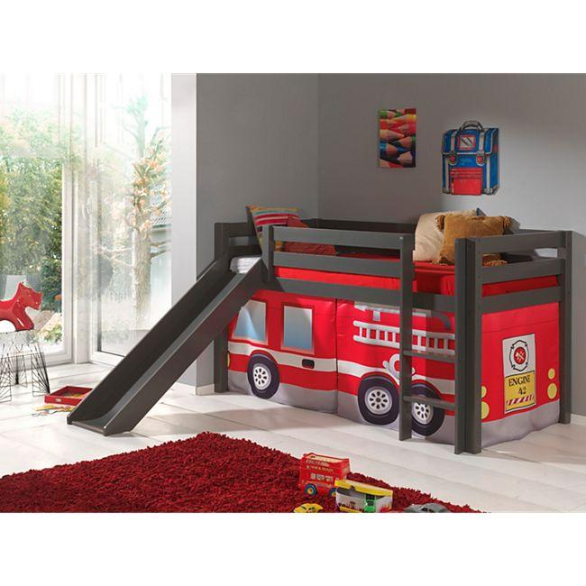 """Vipack Spielbett Pino mit Rutsche und Textilset """"Feuerwehr"""", Kiefer massiv taupe (ein warmes dunkel grau) lackiert - Bild 1"""