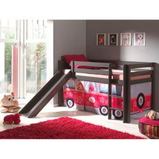 """Vipack Spielbett Pino mit Rutsche und Textilset """"Flower-Bus"""", Kiefer massiv taupe (ein warmes dunkel grau) lackiert - Bild 1"""