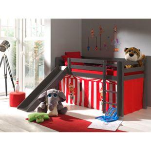 """Vipack Spielbett Pino mit Rutsche und Textilset """"Zirkus"""", Kiefer massiv taupe (ein warmes dunkel grau) lackiert - Bild 1"""
