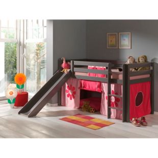 """Vipack Spielbett Pino mit Rutsche und Textilset """"Pink Flower"""", Kiefer massiv taupe (ein warmes dunkel grau) lackiert - Bild 1"""