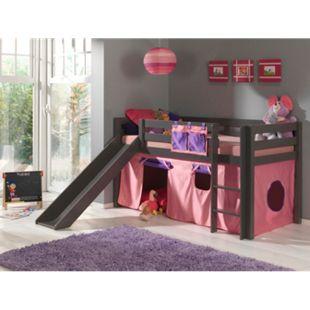 """Vipack Spielbett Pino mit Rutsche und Textilset """"Bella"""", Kiefer massiv taupe (ein warmes dunkel grau) lackiert - Bild 1"""