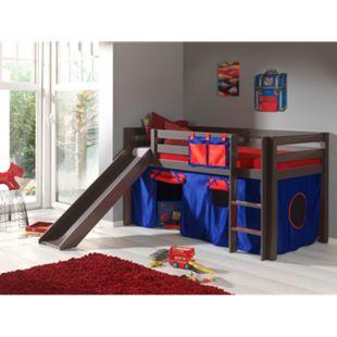"""Vipack Spielbett Pino mit Rutsche und Textilset """"Domino"""", Kiefer massiv taupe (ein warmes dunkel grau) lackiert - Bild 1"""