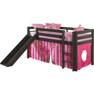"""Vipack Spielbett Pino mit Rutsche und Textilset """"Pferde"""", Kiefer massiv taupe (ein warmes dunkel grau) lackiert - Bild 1"""