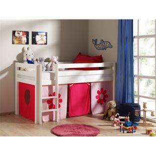 "Vipack Spielbett Pino mit Textilset ""Pink Flower"", Kiefer massiv weiss lackiert - Bild 1"