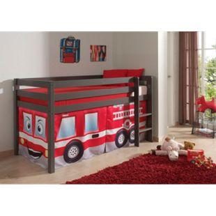 """Vipack Spielbett Pino mit Textilset """"Feuerwehr"""", Kiefer massiv taupe (ein warmes dunkel grau) lackiert - Bild 1"""