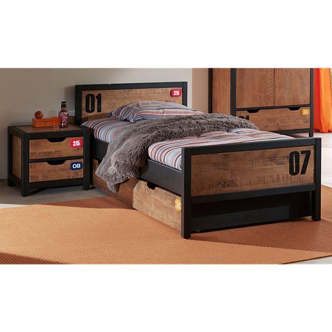 Vipack Set Alex best. aus Nachtkonsole, Einzelbett 90x200 und Bettschublade  Kiefer gebürstet - Bild 1