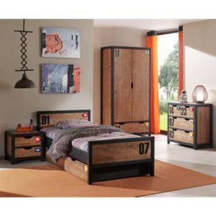 Vipack Set Alex best. aus Nachtkonsole, Einzelbett 90x200, Bettschublade, Kleiderschrank 2-trg. und Kommode  Kiefer gebürstet - Bild 1