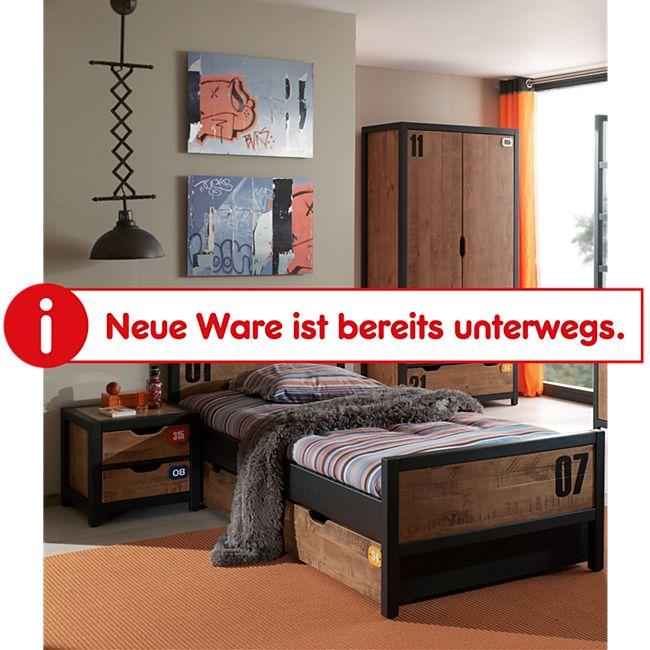 Vipack Set Alex best. aus Nachtkonsole, Einzelbett 90x200, Bettschublade, Kleiderschrank 2-trg. Kiefer gebürstet - Bild 1