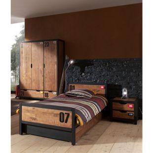 Vipack Set Alex best. aus Nachtkonsole, Einzelbett 90x200, Bettschublade, Kleiderschrank 3-trg. Kiefer gebürstet - Bild 1