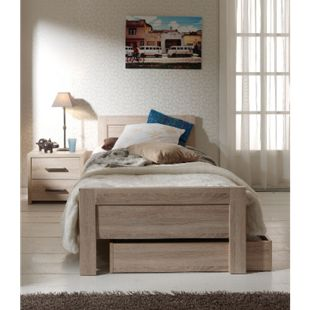 Vipack Set Aline best. aus Einzelbett 90x200, Bettschublade und Nachtkonsole Sonoma Eiche Dekor hell - Bild 1