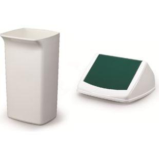Abfallbehälter-Set DURABIN Flip 40 Liter, weiß/grün - Bild 1