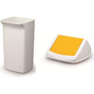 Abfallbehälter-Set DURABIN Flip 40 Liter, weiß/gelb - Bild 1