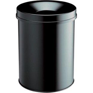 Papierkorb mit Flammlöschkopf, 15 Liter, schwarz - Bild 1