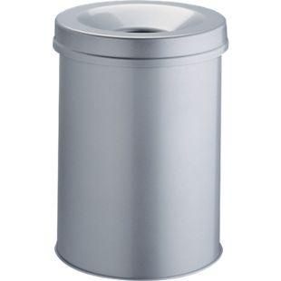 Papierkorb mit Flammlöschkopf, 15 Liter, silber - Bild 1