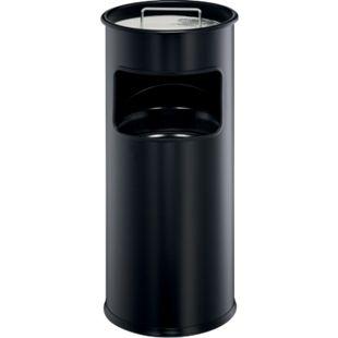 Papierkorb mit Ascher, schwarz - Bild 1